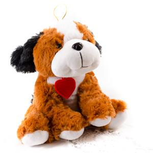 Peluche de perrito con corazón - Desayunos con sonrisa